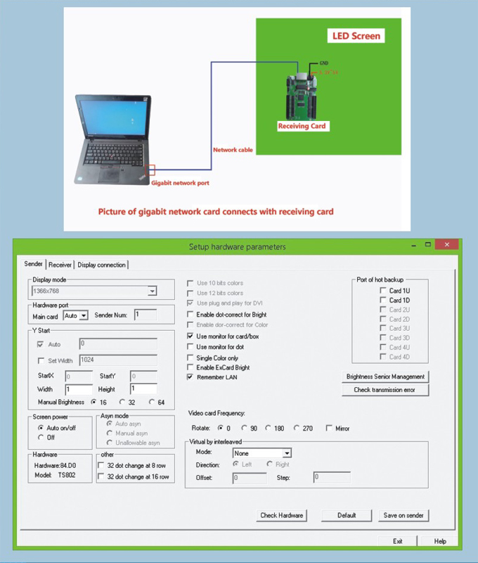 Gigabit network card connects with Linsn receiving card