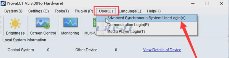 Login novastar NovaLCT software