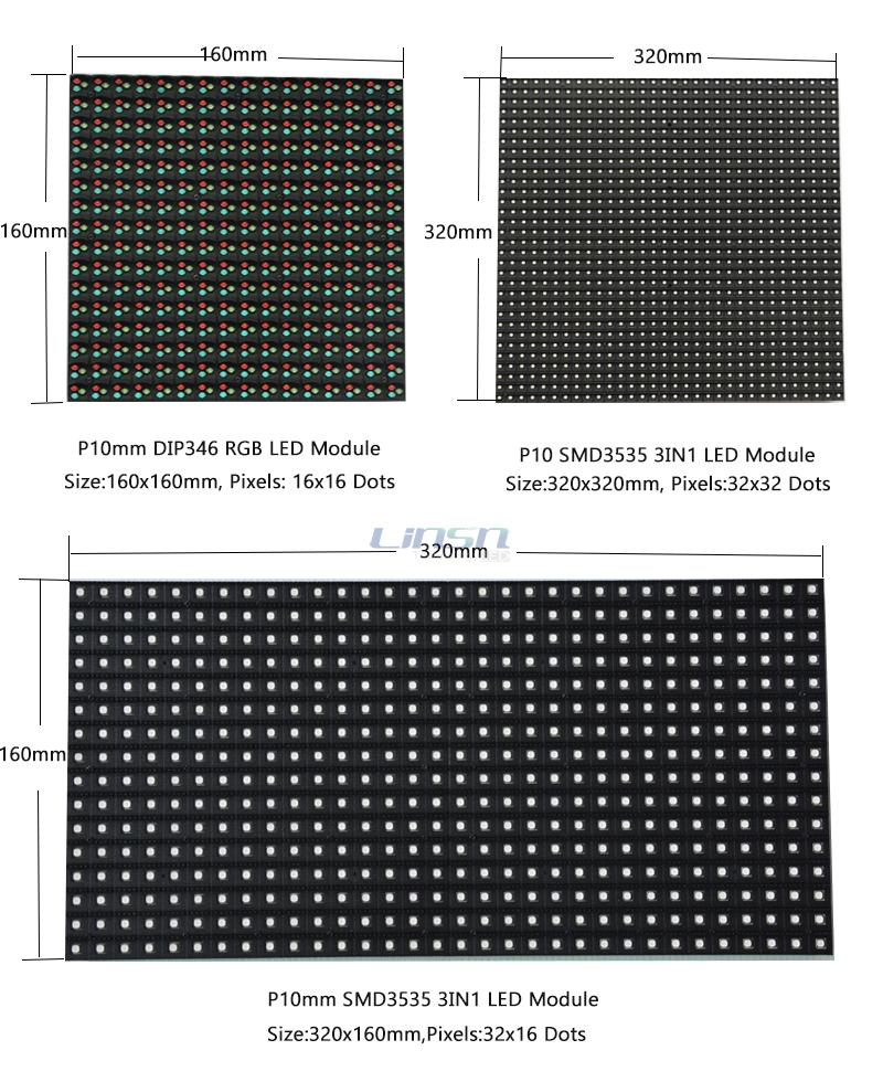 Outdoor P10 LED module sizes