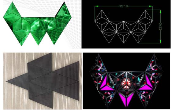 Diamond shaped LED display case sharing