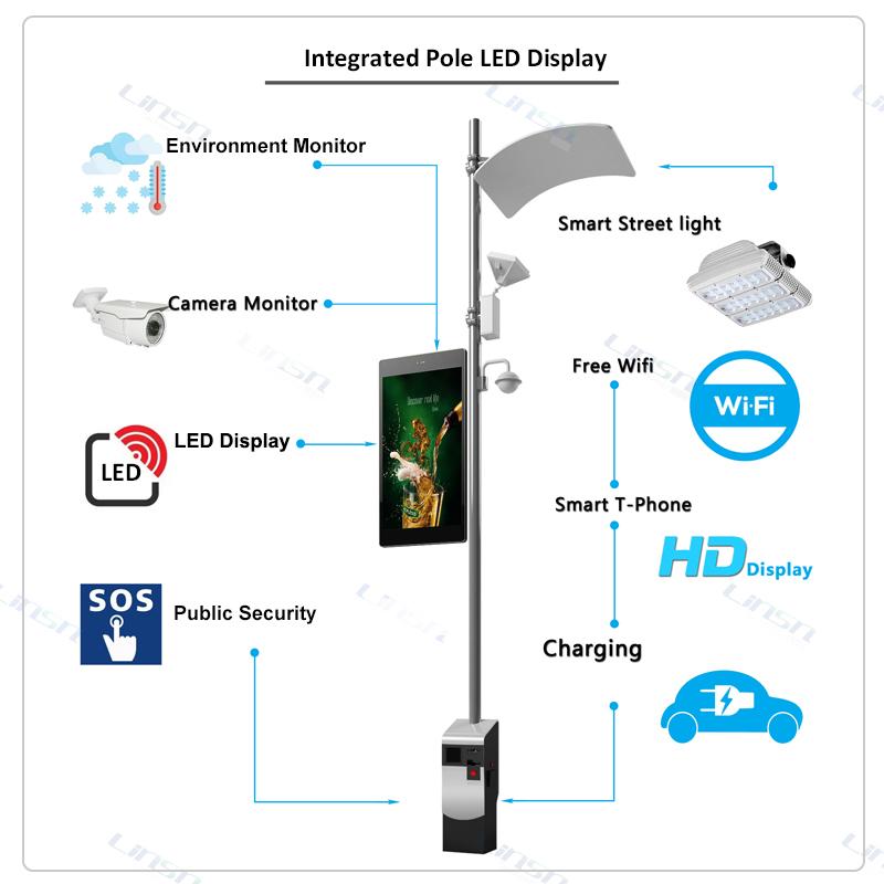 integrated LED pole display