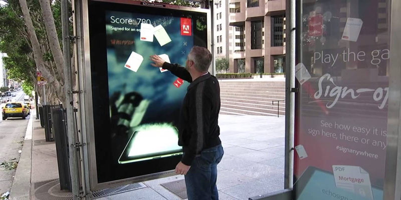 Bus station LED poster screen